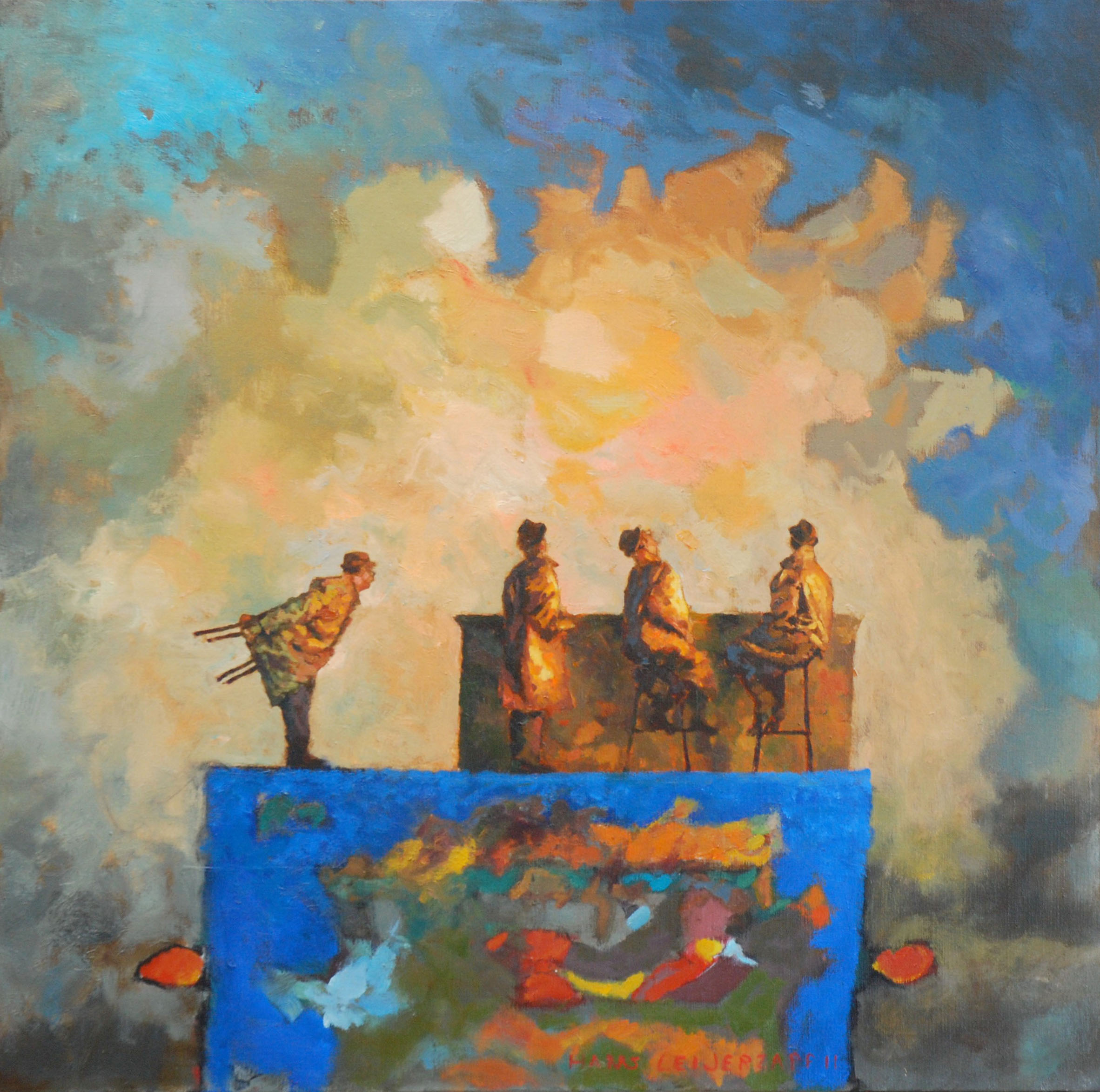 Hans-Leijerzapf-schilderij-doek-canvas-Bijna_Iedereen_zit-100_100-cm